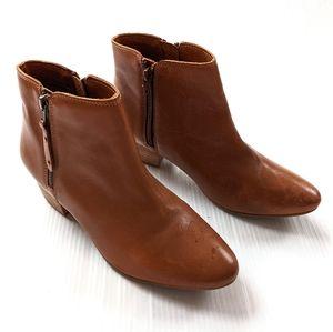 DIBA cognac tan side zip leather ankle booties